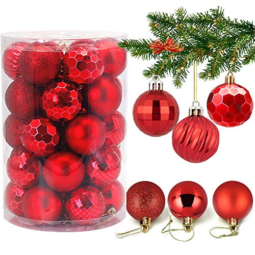 VDSOW Weihnachtskugeln 34, Rot Weihnachtsbaumkugeln Kunststoff Weihnachtsbaum Kugeln Deko für Weihnachtsbaumschmuck, Bruchsichere Christbaumkugeln Christbaumschmuck Weihnachtsdeko Weihnachten 4cm