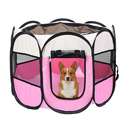 Mile High Life | Portable Cat Dog Crate | Foldable Dog Case Tent | Collapsible Travel Crate | Water Resistant Shade Cover | for Dogs/Cats/Rabbit Beige Pink SmallDia29 H17