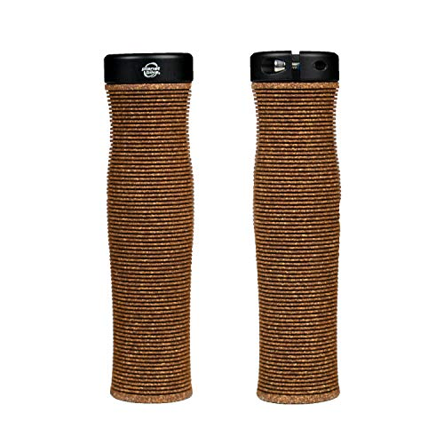 Planet Bike Happy Hands Dura Cork Handlebar Grips and End Plugs for Locking to Bikes, for MTB, ATB, BMX, Electric, Mountain and Flat Bar Road Bicycles, Dark Brown