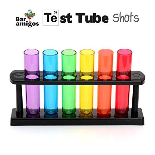 CKB LTD - Bar Amigos - Neon Kunststoff Reagenzglasaufnahme Shooters Gläser mit Stand - Lila, Blau, Grün, Gelb,