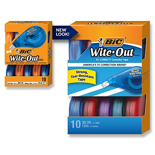 BIC Wite-Out Brand EZ Correct Correction Tape, White, 10-Count