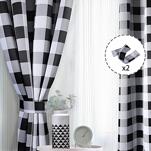 Buffalo Plaid Curtains, Thick Buffalo Room Darkening Curtains 95 inch Length Buffalo Check Curtains Black and White Checkered Curtains 52 inch Width Farmhouse Décor Blackout Curtains for Dining Room