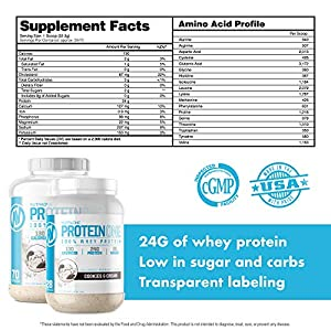 ProteinOne Low Carb Whey Protein by NutraOne —Weight Loss and Build Muscle with a Low Carb Protein Shake Powder for Men & Women (Cookies & Cream - 2 lbs.)