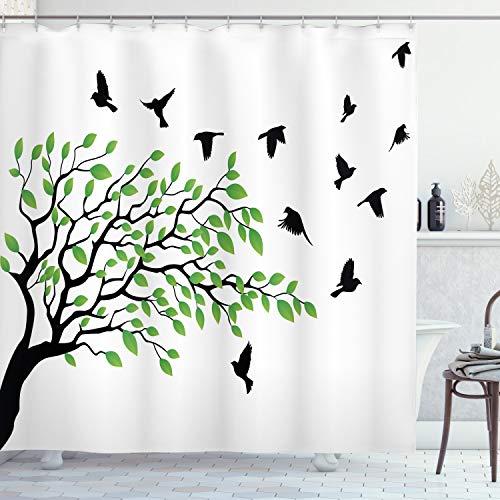 ABAKUHAUS Baum Duschvorhang, Fliegen-Vogel-Frühlings-Frieden, mit 12 Ringe Set Wasserdicht Stielvoll Modern Farbfest & Schimmel Resistent, 175x180 cm, Weiß Schwarz Grün