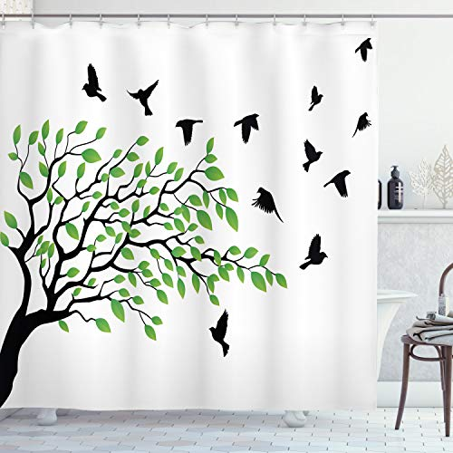 ABAKUHAUS Duschvorhang, Frühlings Baum mit Schattenbild von Fliegenden Vogel Wind Freiheit Leben Digital Druck, Wasser & Blickdicht aus Stoff mit 12 Ringen Bakterie Resistent, 175 X 200 cm