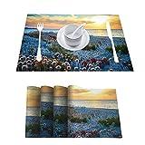 Manteles individuales antideslizantes 3D impermeables con flores en la playa al atardecer en Cerdeña, Italia, manteles individuales lavables fáciles de limpiar, juego de 4