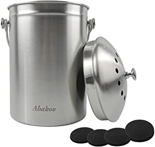 Compost Bin Countertop, Composter Bucket with Lid Abakoo 1.6 Gallon Stainless Steel Kitchen Waste Pail Plus 4pcs Bonus Cha...