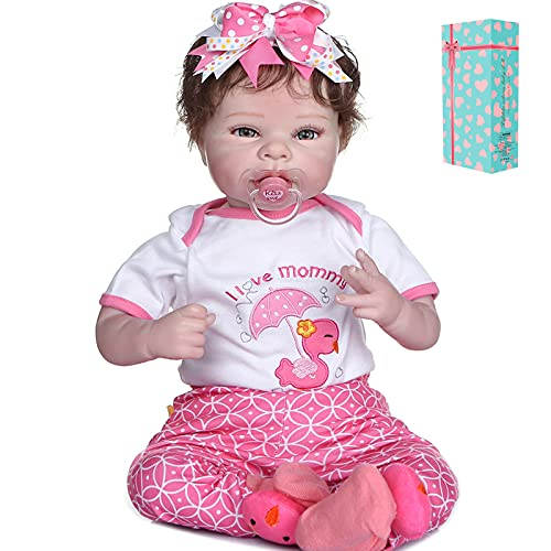 New Face 22inch 55cm Reborn Baby Dolls Soft Vinyl Silicone Newborn Babies with Cotton Body Xmas Gift (Pink Duck)