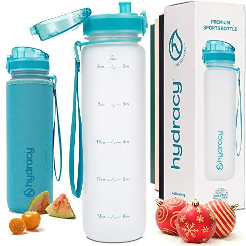 Hydracy Bottiglia d'Acqua Grande Senza BPA - 1 Litro con Linee Marcatempo - Filtro Infusore Aromatizzante per la Palestra - Ideale per Chi Fa Fitness o attività all'Aria Aperta - Aqua Bianco