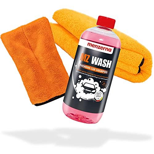 detailmate Menzerna MZ Wash - Champú para coche de 1 litro + guante de microfibra de precisión naranja + paño seco Orange Baby XL para un lavado óptimo