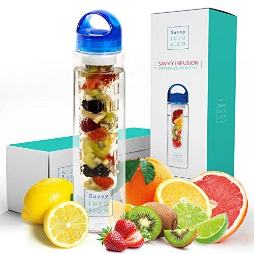 Savvy Infusion Water Bottles - Fruit Infuser Bottle with Leak Proof Silicone Sealed Cap and Tritan Shatter Proof Plastic for Outdoor Activities - Dishwasher Safe - Great Gift for Women - 32 oz Blue