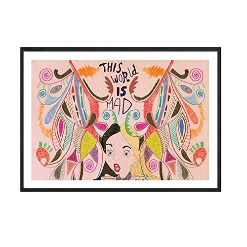 Moderne Leinwand Wandkunst Alice im Wunderland Kunstdruck Leinwand Malerei Bunte Druck Wandkunst Bild Mädchen Zimmer Dekor 23,6