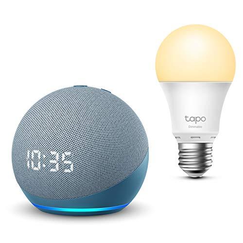 Nouvel Echo Dot (4e génération) avec horloge, Bleu-gris + TP-Link Tapo Ampoule Connectée (E27), Fonctionne avec Alexa