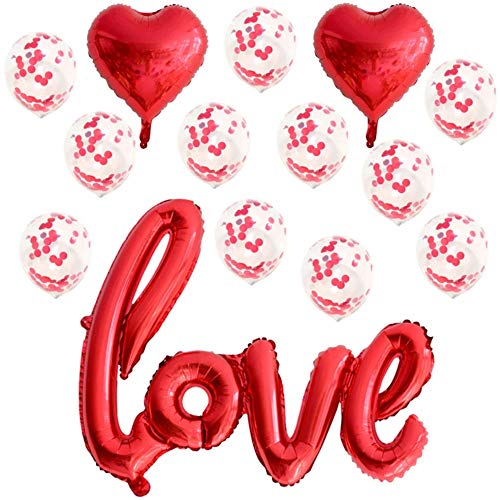 DIWULI, Love Luftballon-Set, XXL Love-Schriftzug Folien-Luftballon rot, Herz-Ballon, Herz-Form Folien-Ballon, Latex-Ballons Konfetti groß Geburtstag, Hochzeit, Hochzeits-Party, Dekoration, Deko, Liebe