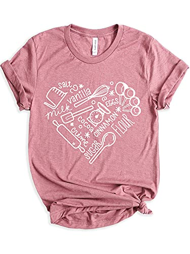 Classy Mood Bakery Shirt Baking Heart Lover T-Shirt Chef Mom Cookie Baker Gifts for Her
