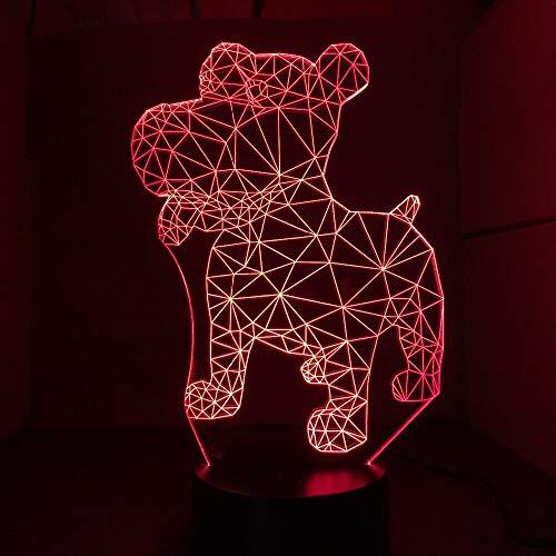 Nocturna Lámpara Perro 3D Lámpara De Noche Led Lámpara De Mesa Usb 7 Colores 3D Ilusión Luces...