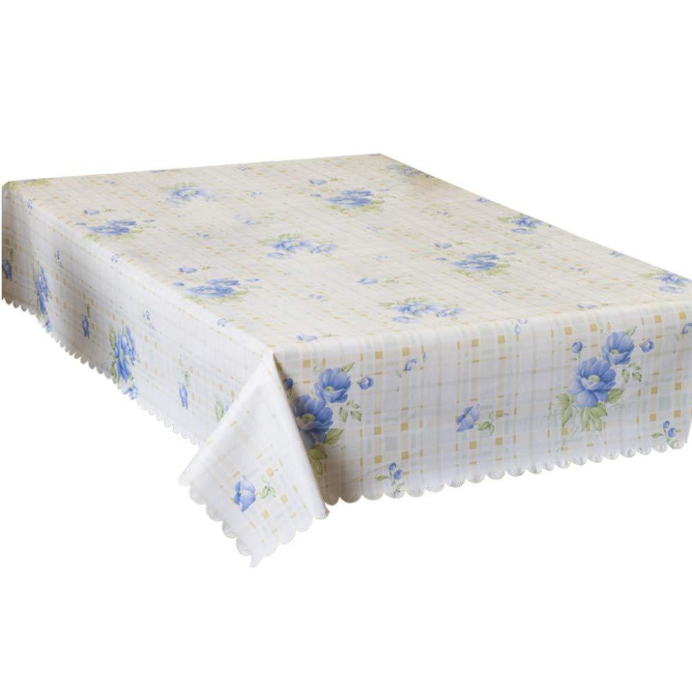 PCYG Mantel PVC Impermeable A Prueba De Aceite Mantel Doméstico Sala De Estar Cocina Mesa De Comedor Mesa De Café Decoración60X120Cm Azul: Amazon.es: Hogar