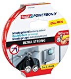 tesa Powerbond Ultra Strong - Cinta adhesiva de doble cara para una fijación extra fuerte y duradera sin necesidad de taladrar, 5 m x 19 mm (6)