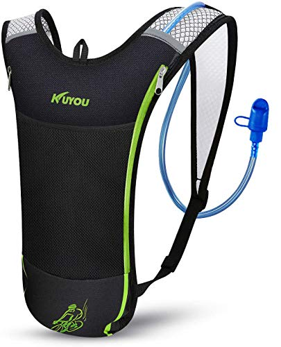 KUYOU Hydration Pack,Hydration Backpack with 2L Hydration Bladder for Running, Hiking, Cycling, Camping (Green)