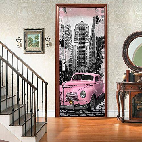 Warreal Protezione Ambientale Creativa Adesivi per Porte Auto Classiche Rosa 3D Rinnovati Adesivi Murali Autoadesivi per Camera da Letto