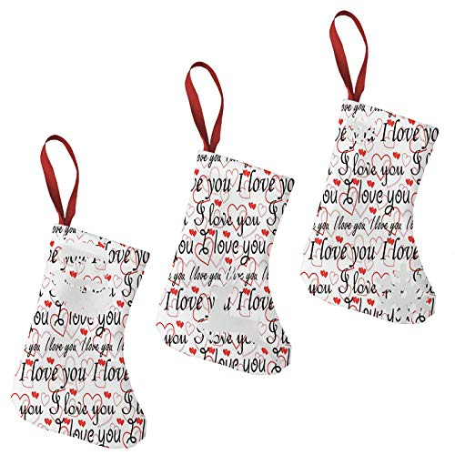 FULIYA Christmas Stockings Xmas Fireplace Hanging Stockings,Beauty of Valentines Birthday Forever Never Let Me Go Happiness Theme,Decoration Stockings for Christmas Decoration DIY Craft