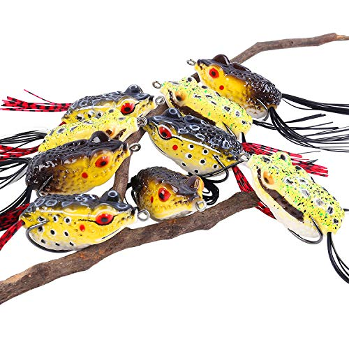 Sougayilang Hollow Frog Fishing Lures Soft Topwater Baits for Bass Snakehead Saltwater Freshwater Fishing (LeiWa-9Pcs)