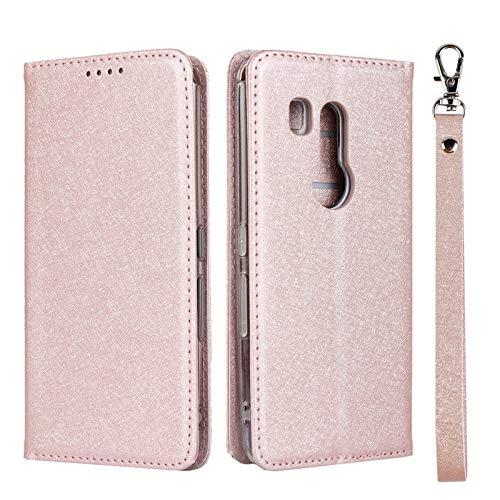 YULIXIA-PHONE CASE Uitgebreide telefoonhoes voor Fujitsu Arrows Be3 F-02L, Zijde textuur PU-leder-Mappen-Kast, folie-slag-Fall met kickstand en polsband, roze goud