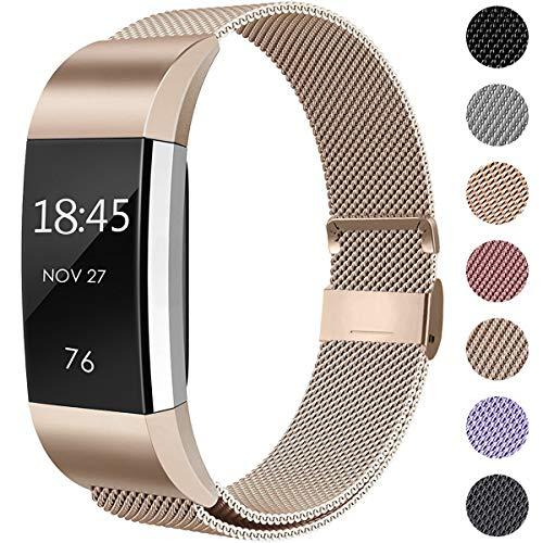 Hamily Kompatibel für Fitbit Charge 2 Armband, Metall Armband, Edelstahl Sport Ersatzarmband für Fitbit Charge 2 Fitness Tracker, Klein Champagner