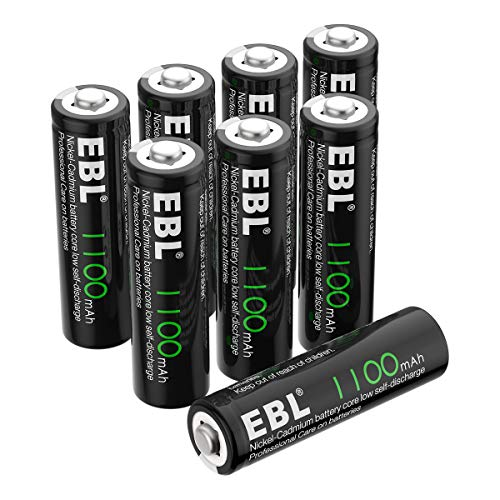 EBL AA Rechargeable Batteries, 1.2V 1100mAh High Capacity Ni-CD AA Battery for Solar Garden Lights (Pack of 8)