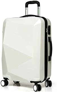 3D Diamond Face Luggage Luggage Trolley Case Durable White 24 Inch