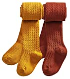 CHUNG Toddlers Little Girls Autumn Winter Cotton Footed Tights Stretchy Soft School Leggings Stockings,3-4Y,2pk Mustard+Rust Red