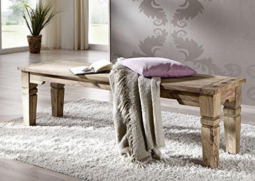 MASSIVMOEBEL24.DE Kolonialart Massivholz Möbel Palisander grau Bank 160x40 Sheesham geölt massiv Möbel LEEDS #55