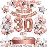30 Años Cumpleaños Globos,Regalos Para Mujer 30 años Photocall Cumpleaños,Feliz Cumpleaños Decoracion 30,Oro Rosa Globos Guirnalda y Banner Globos de Confetti Látex Manteles Adornos