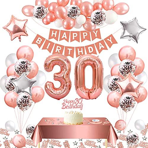 Decorazioni Compleanno 30 Anni,30 Anni Compleanno Donna,Oro Rosa Palloncini 30 Anni Coriandoli Palloncini in Lattice Palloncino Foil Striscione di Happy Birthday Tovaglia per Addobbi Festa