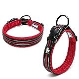 Kismaple Cosy Soft Padded Reflective Dog Collar Adjustable Medium/Large Dogs Collar Light-Weight Outdoor Adventure Traning Comfortable Pet Collars (L (45-50cm), Red)