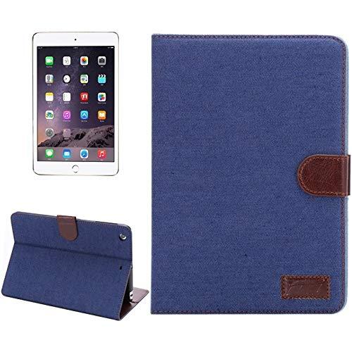 Fulvit Funda de Cuero de Textura de Mezclilla con Ranuras y Soporte para Tarjetas y función de sueño para iPad Mini 3 / Mini 2 Retina (Azul Oscuro) (Color : Dark Blue)