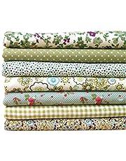 Omkuwl Serie Verde 7pcs / Set Paquetes de Tela Flor Tela de algodón Estampada Patchwork Costura Tela 50x50cm # 17