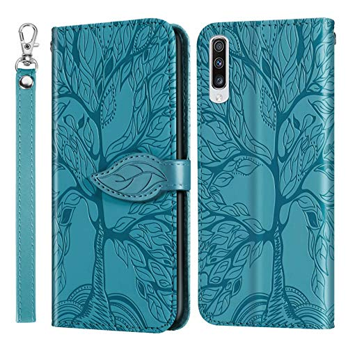 Miagon Prägung Lederhülle für Samsung Galaxy A30S,Handyhülle Tasche Brieftasche Hülle Bookstyle Schutzhülle Flip Case Cover Klapphülle Kartenfächer,Baum Blau