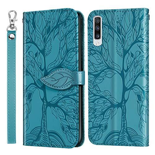 Miagon Prägung Lederhülle für Samsung Galaxy A50,Handyhülle Tasche Brieftasche Hülle Bookstyle Schutzhülle Flip Case Cover Klapphülle Kartenfächer,Baum Blau
