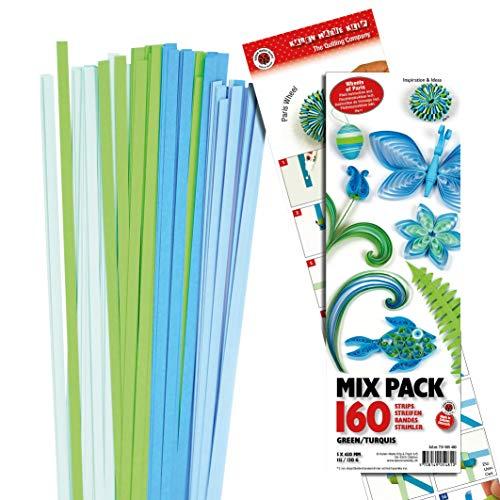 160 Stk. KAREN MARIE Papierstreifen bunter Mix 45x0,5cm mit Anleitung Quilling Tonpapier falten und basteln Stärke: 120 g/qm Aqua