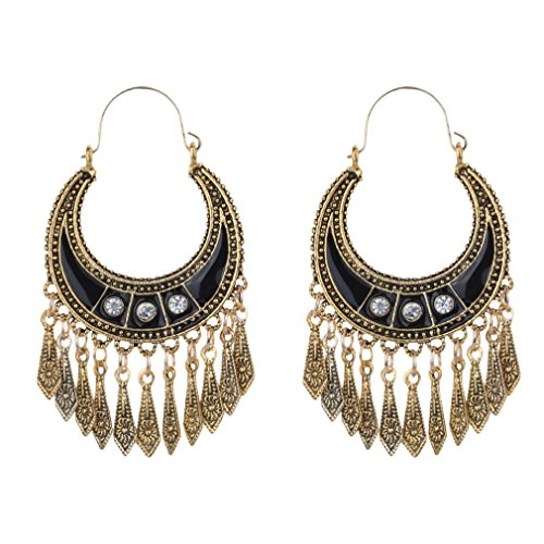 YAZILIND Bohème vintage en alliage plaqué argent bronze lune forme soif glande goutte crochet boucles d'oreilles femmes filles cadeau (or)