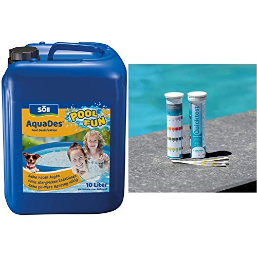 Söll 10343 AquaDes Pool-Desinfektion flüssig 10 l - Poolreinigung Wasserpflege gegen Bakterien und Keime zur Desinfektion von Pool Whirlpool & BAYROL Quick Test - 50 x Pool Teststreifen