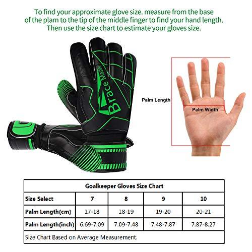 Brace Master Torwarthandschuhe mit Fingerschutz,Protect & Super-Grip 3+3MM Handflächen Fussball Torwarthandschuhe Kinder Herren & Erwachsene - Diverse Größe und Farben - 4