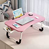 Lap Desk with Storage Drawer, Phone and Cup Holder (Pink Strip, 23.62')
