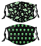 Alien-Face Mask with Filters, Washable Reusable Scarf Balaclava, for Women Men Adult Teens