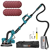 800W Drywall Sander, Double-Deck LED Lights 6 Variable Speed, 12 Sanding Discs with High Dust Suction, Extendable Handle and Carry Bag, for Grinding Dry Walls