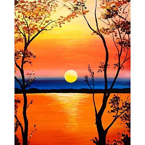 MXJSUA Kit de pintura al óleo por números, lienzo al óleo para adultos y niños, preimpreso, decoración del hogar, dibujo con pinceles, juego de pintura al óleo sin marco, 40 x 50 cm