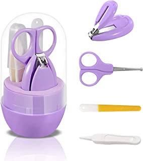 Baby Nail Kit, Molylove 4-in-1 Baby Nail Care Set with Cute Case, Baby Nail Clipper, Scissors, Nail File & Tweezers, Baby Manicure Kit for Newborn, Infant, Toddler, Kids-Purple