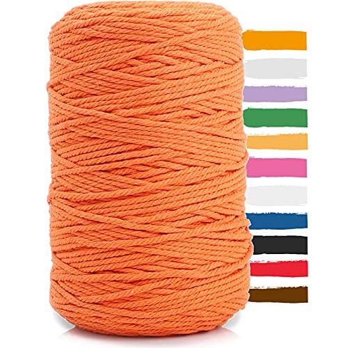 Hilo Macrame,Hilo Macrame 3mm*200m,Cuerda Macrame,Cuerda de Hilo de Algodón Natural,Utilizada Para Tapices de Encaje,Colgadores de Plantas,Decoraciones de Bricolaje,etc (naranja)