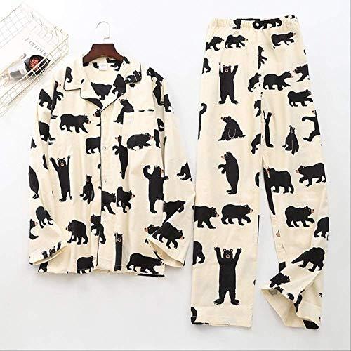 XFLOWR 100{f261f653913da04854fdec36bd244d0184558e598387899af89dda6a2e6262f4} Baumwolle Deer Pyjamas Sets Herren Plaid Casual Nachtwäsche Für Männer Pyjamas Pyjama Hombre Herren Cartoon Pyjamas L Bär